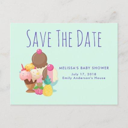 Ice Cream Scoops with Sprinkles Save The Date Announcement