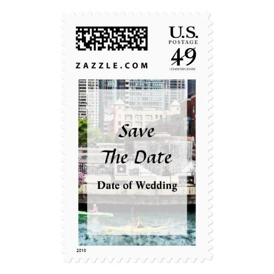 il kayaking on the chicago river postage stamps save the date cards