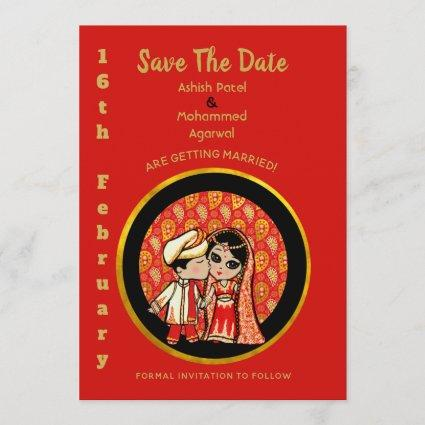 Indian Save the Date Cute Cartoon Bride Groom