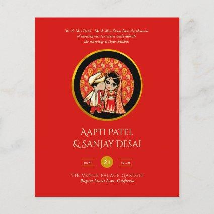 Indian Wedding Couple Engagement Save Date RedGold