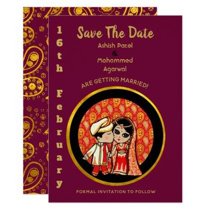Indian  Wedding Save the Date Cute Bride Groom Invitation