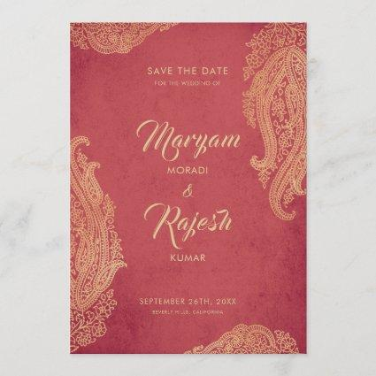 Indian Wedding, Save The Date, Red, Gold, Mehndi Save The Date