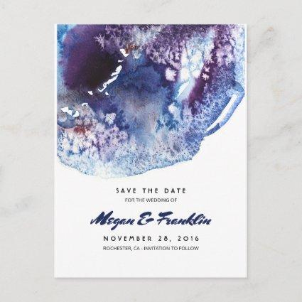 Indigo Blue Watercolor Crystals Save the Date Announcement