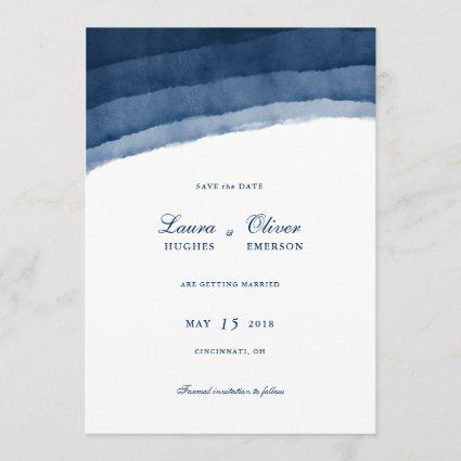 Indigo Blue Watercolor Save the Date