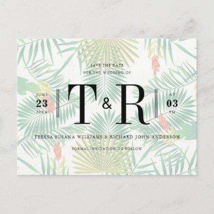 Initials Tropical Typography Save The Date Announcements Cards