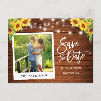 Instant Camera Style Wood Sunflowers