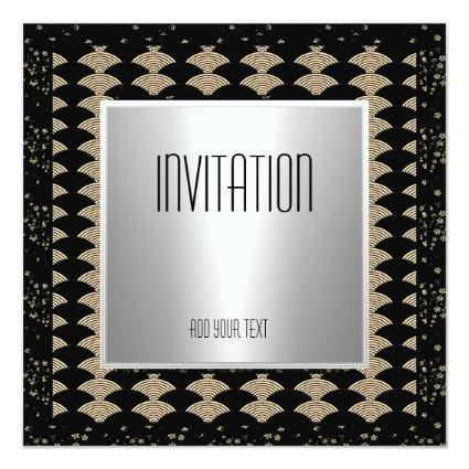 Invitation Silver Black Art Deco