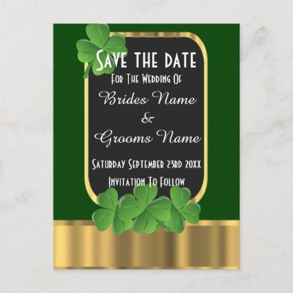 Irish green and gold save the date announcement