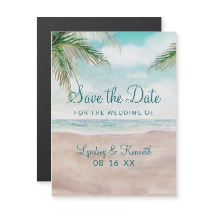 Island Breeze Painted Beach Wedding Save the Date Magnetic Invitation