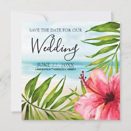 Island Paradise | Palms and Hibiscus Beach Wedding Save The Date