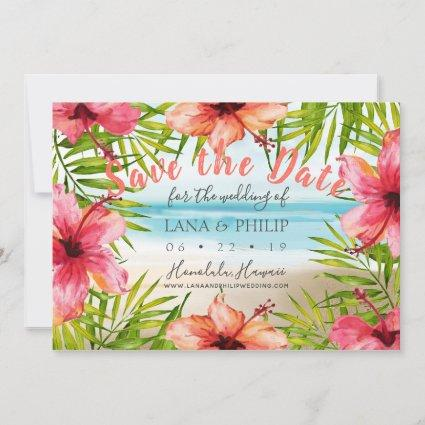 Island Paradise Tropical Beach Watercolor Floral Save The Date