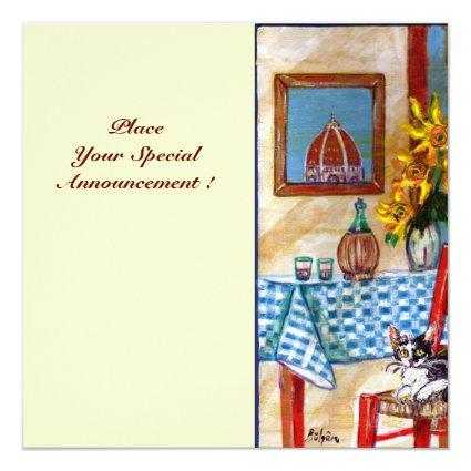 ITALIAN KITCHEN IN FLORENCE, Red Blue Invitation