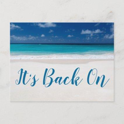 Its Back On Beach Theme Save The Date Announcement