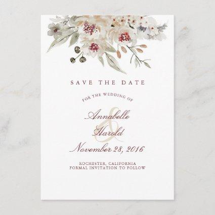 Ivory and Burgundy Watercolors Floral Save the Dat Save The Date