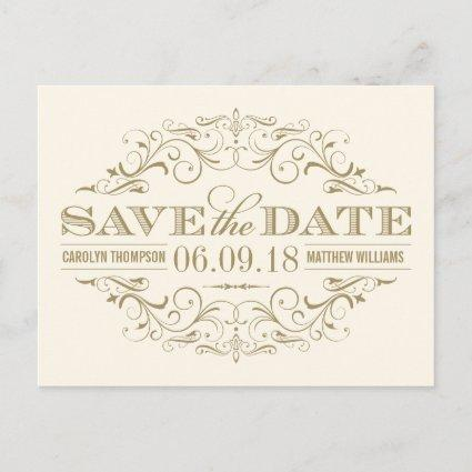 Ivory and Gold Save the Date | Swirl and Flourish Announcement
