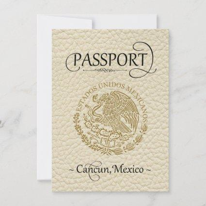 Ivory Cancun Passport Save the Date Card