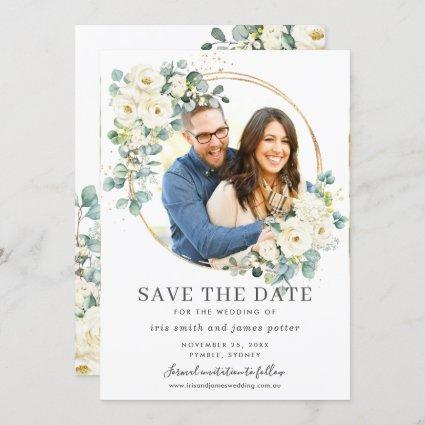 Ivory Floral Eucalyptus Photo Save the Date Card