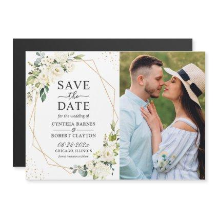 Ivory Floral Geometric Photo Save the Date Magnet