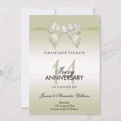 Ivory Gem Bow & Ribbon 14th Wedding Anniversary Save The Date