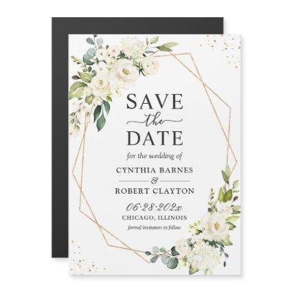 Ivory Green Floral Geometric Save the Date Magnet