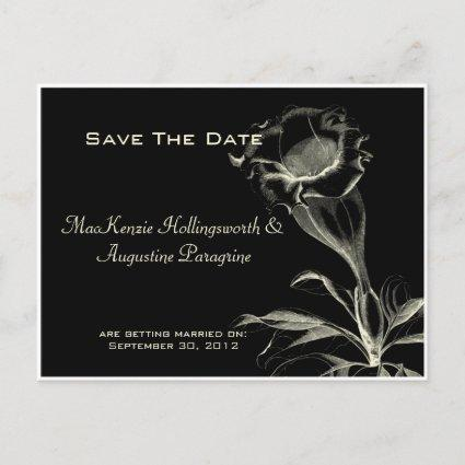 Ivory Sketched Flower on Black Save The Date Announcement