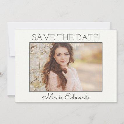 Ivory White Graduation Save Date Photo Save The Date