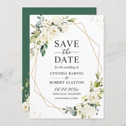 Ivory White Green Floral Modern Gold Geometric Save The Date