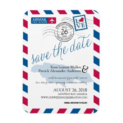 JAMAICA Airmail Save the Date Magnet