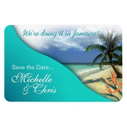 Jamaica Save The Date (emerald waters) Magnet