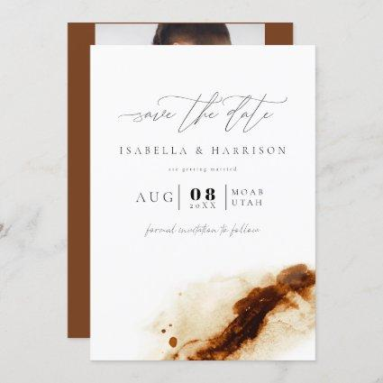 JAYLA | Bohemian Terracotta Photo Save the Date Invitation