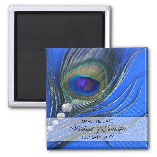 Jewel Peacock Feather Blue Save the Date Magnets