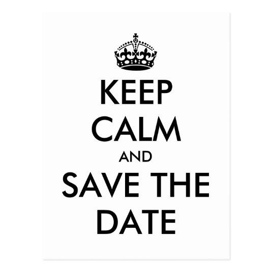 keep calm black and white save the date cards