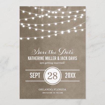 Khaki String Lights Save the Date Announcement