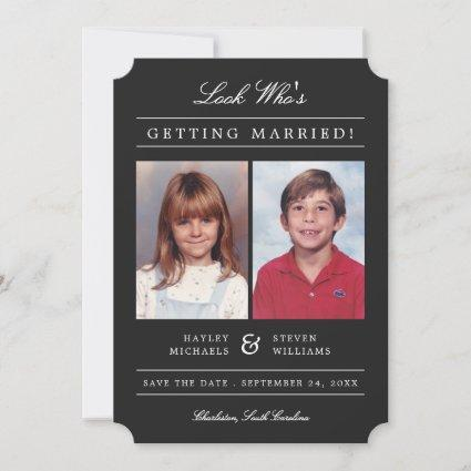 Kid Photos Old School Classic Styled | Black Save The Date