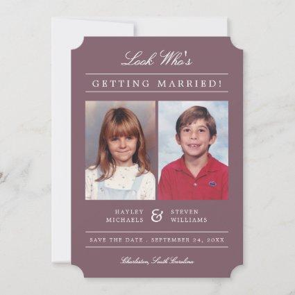 Kid Photos Old School Classic Styled   Mauve Save The Date