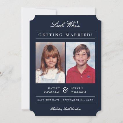 Kid Photos Old School Classic Styled   Navy Save The Date