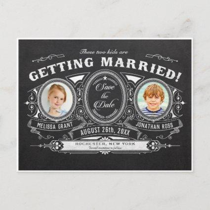 Kids Photo Save the Date Cards Chalkboard
