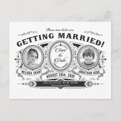 Kids Photo Save the Date Wedding Cards Vintage