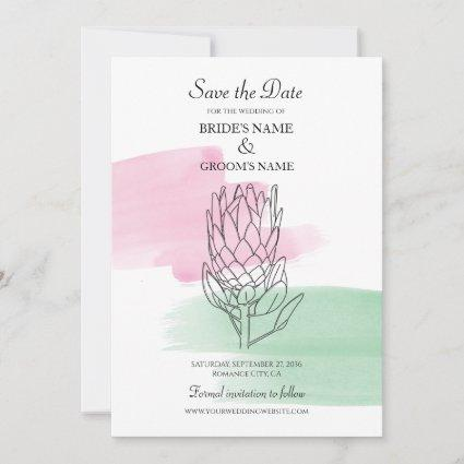 King Protea Watercolor Wedding Save The Date
