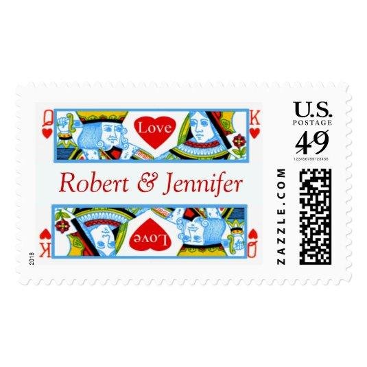 King Queen Hearts Custom Names Wedding RSVP Invite Postage Stamp