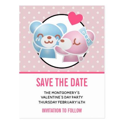 Kissing bears Valentine's Party Save the Date Cards