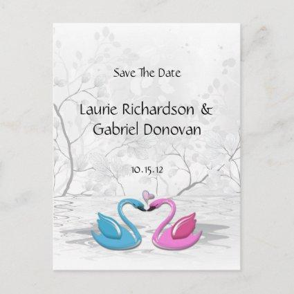 Kissing Love Swans  Announcements Cards