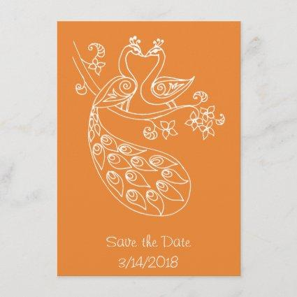 Kissing Peafowls Save-The-Date, alpana style Save The Date