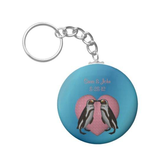 Kissing Penguins Cute Wedding Favor Keychain