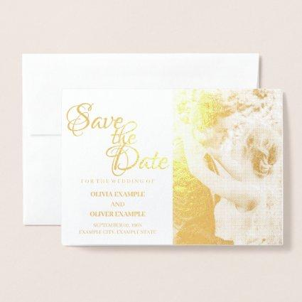 Kissing wedding couple in monochrome foil card
