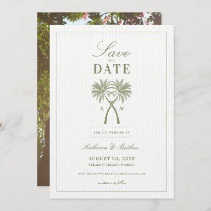 Knotted Palm Trees Tropical Wedding Save The Date Invitation