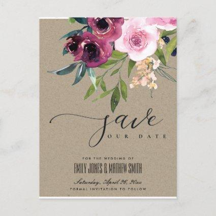 KRAFT BLUSH BURGUNDY FLORAL BUNCH SAVE THE DATE ANNOUNCEMENT