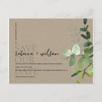 KRAFT EUCALYPTUS FOLIAGE WATERCOLOR SAVE THE DATE ANNOUNCEMENT