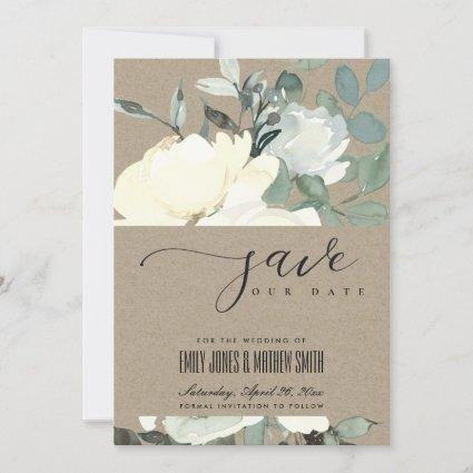 KRAFT IVORY WHITE AQUA FLORAL WATERCOLOR BUNCH SAVE THE DATE