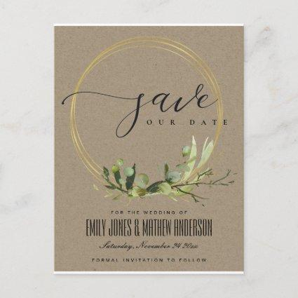 KRAFT LEAFY GREEN FOLIAGE WATERCOLOR SAVE THE DATE ANNOUNCEMENT